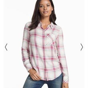 WHBM button down collared plaid top size 4